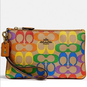 Coach Signature Rainbow Small Wristlet